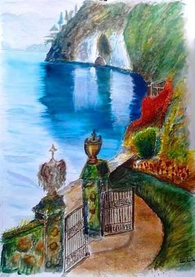 Lake Como Painting - Villa At Varenna Como Lake by Fabio Spinsanti