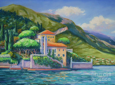 Lake Como Painting - Villa Balbianello Lake Como by John Clark