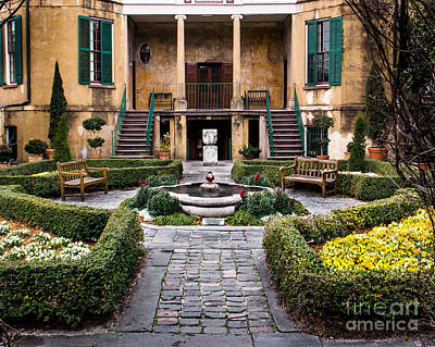 Mansion Digital Art - Villa Courtyard by Perry Webster