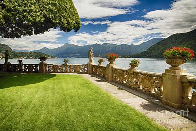 Villa Garden View On Lake Como Art Print by George Oze