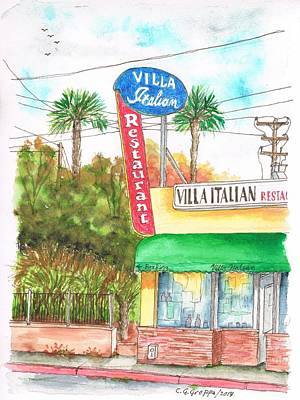 Villa Painting - Villa Italian Restaurant - West Los Angeles - California by Carlos G Groppa