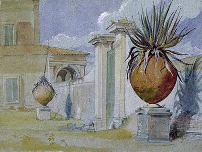 Villa Massimi, Rome Wc & Bodycolour On Paper Art Print by Harry John Johnson