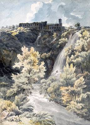 Waterfalls Drawing - Villa Of Maecenas, Tivoli by J.W. Smith