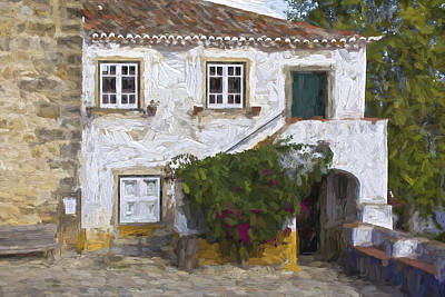 Window Bench Painting - Villa Of Medieval Obidos by David Letts