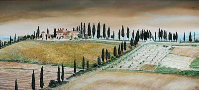 Villa On Hill, Tuscany, 2001 Oil On Canvas Art Print by Trevor Neal