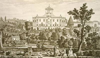 Villa Drawing - Villa Ricci At Pozzolatico by Giuseppe Zocchi