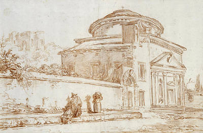 Villa Sacchetti, Rome Red Chalk On Paper Art Print by Hubert Robert