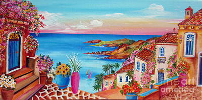 Village Along The Amalfi Coast Art Print by Roberto Gagliardi