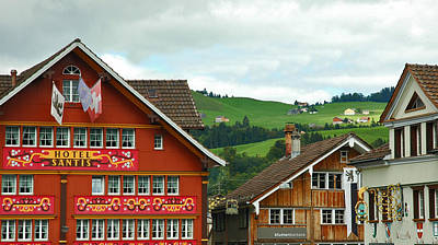 Photograph - Hotel Santis And Hillside Of Appenzell Switzerland by Ginger Wakem