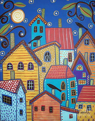 Folk Art Painting - Village Birds by Karla Gerard