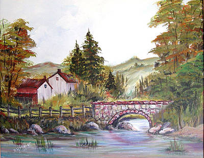 Art Print featuring the painting Village Bridge by Dorothy Maier