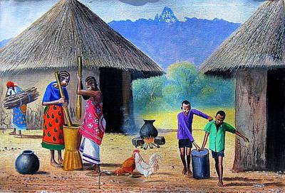 Painting - Village Chores by Jane Wanjeri