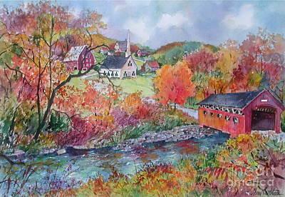Covered Bridge Painting - Village Crossing by Sherri Crabtree