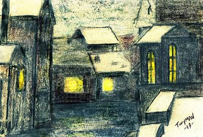 Drawing - Village by Dan Twyman