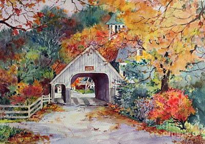 Covered Bridge Painting - Village Entrance by Sherri Crabtree