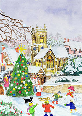 Snowball Fight Painting - Village Festivities by Tony Todd