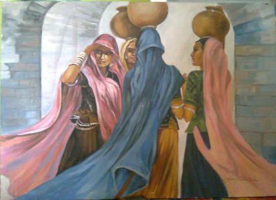 Painting - Village Girls by Jaffo Jaffer