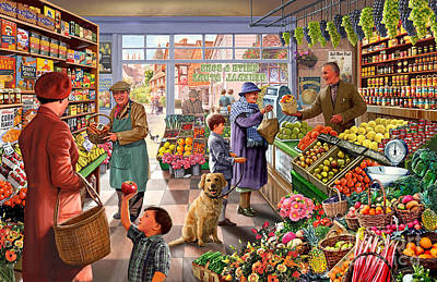 Baskets Digital Art - Village Greengrocer  by Steve Crisp