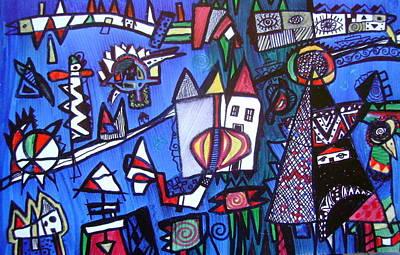 Drawing - Village Hidden In The Blue Eye by Branko Jovanovic