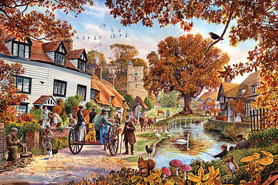 Brown Leaves Photograph - Village In Autumn by Steve Crisp