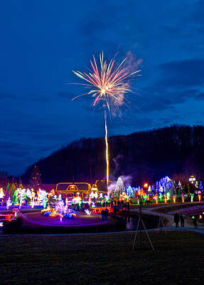 Photograph - Village In Christmas Lights Fireworks by Brch Photography
