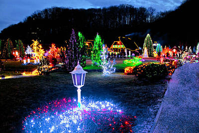 Photograph - Village In Colorful Christmas Lights by Brch Photography