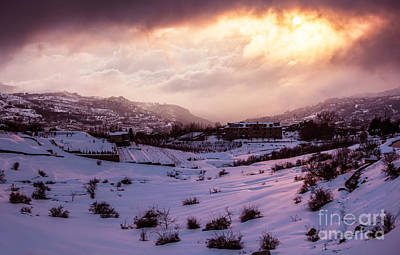 Christmas Holiday Scenery Photograph - Village In Mountains by Anna Om