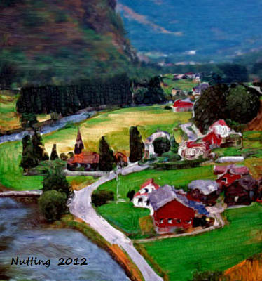 Art Print featuring the painting Village In The Mountains by Bruce Nutting