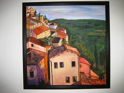 Tuscan Hills Painting - Village by Marcella Haugaard