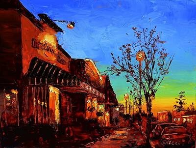Italian Night Life Painting - Village Night by Lynee Sapere