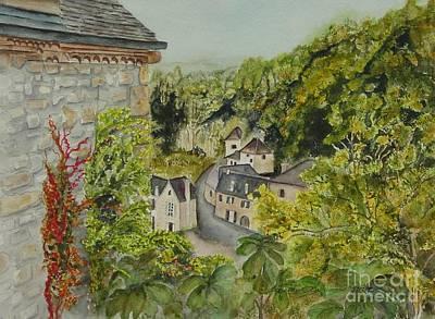 Village Of Beynac France Art Print by Sobeida Salomon