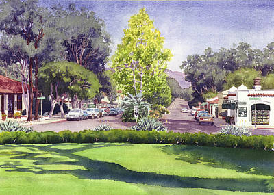 Santa Wall Art - Painting - Village Of Rancho Santa Fe by Mary Helmreich