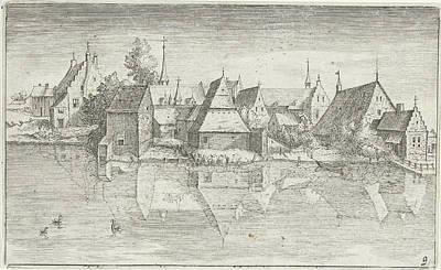 Reflecting Water Drawing - Village On A River, Hendrick Hondius by Hendrick Hondius (i) And Josse Van Liere