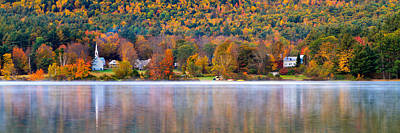 Autumn Scene Photograph - Village On Crystal Lake Autumn  by Jeff Sinon