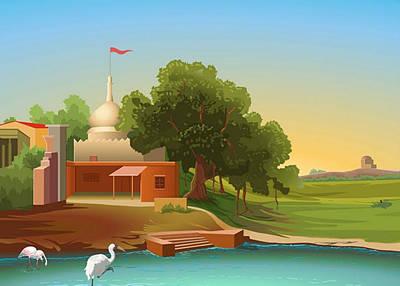 Digital Art - Village by Prakash Leuva