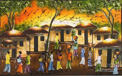 African Village Scene Painting - Village Scene -cropped by Ted Samuel Mkoweka