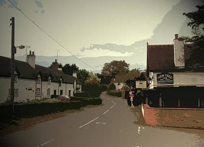 Village Scene In Ednaston, The Yew Tree Public House Art Print