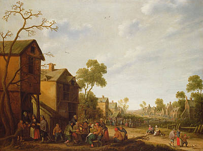 Celebrate Photograph - Village Scene With Peasants Merrymaking, 17th Century by Joost Cornelisz