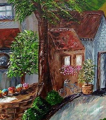 Bicycle Painting - Village Shoppes by Eloise Schneider