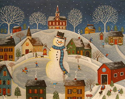 Ski Painting - Village Snowman by Mary Charles