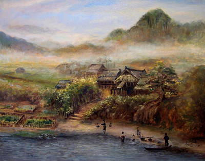 Laos Painting - Village by Sompaseuth Chounlamany