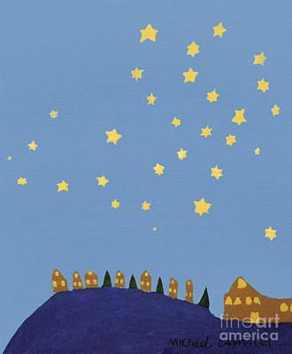 Village Starry Night Art Print