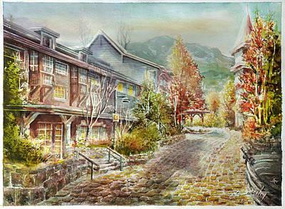 Whistler Mixed Media - Village Stroll Whistler by Dumitru Barliga