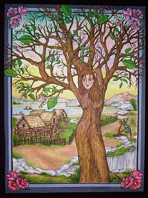 Painting - Village Tree Spirit by Jan Wendt