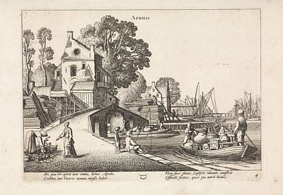 Village View With Activity On The Water April Art Print by Jan Van De Velde (ii)