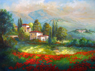 Italian Landscapes Painting - Village With Poppy Fields  by Regina Femrite