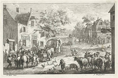 Rainbow Horses Drawing - Village With Travelers And Cattle Traders At Inn by A.f. Bargas