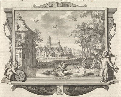 Stork Drawing - Village With Two Storks Near A Pool, Frederik Ottens by Quint Lox