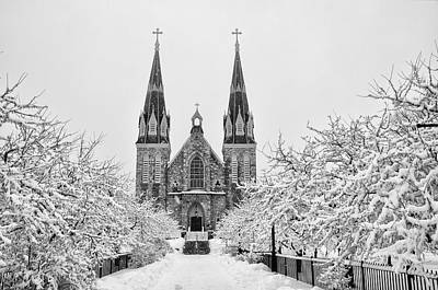 Villanova Cathedral - Winter  Art Print by Bill Cannon