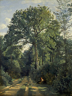 Rural Landscapes Photograph - Ville Davray Entrance To The Wood, C.1825, Oil On Canvas by Jean Baptiste Camille Corot